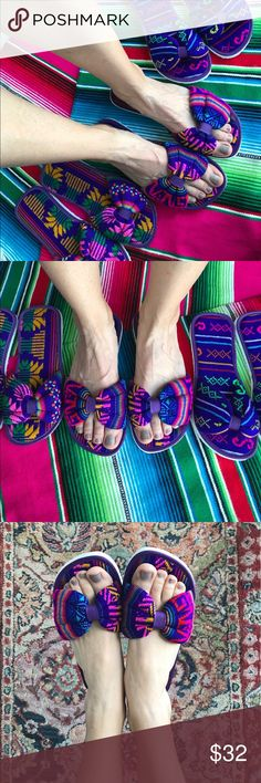 Mexican Textile Bow Sandals From street to beach! Custom made for Costume Baldor! Your new summer go to shoes. So comfy and stylish! Please refer to final image to choose color! Purple Pedicure, Beach Pedicure, Wedding Pedicure, Pedicure Ideas, Ootd Fashion, Fashion Tips, Fashion Trends, Fashion Ideas, Toe Pics