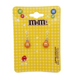 M&M 's Orange Hanging Earrings (Official Licensed Product) Fashion Jewelry