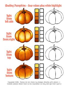 Copic Marker Free Printable practice sheet and tutorial for coloring pumpkins. Copic Marker Art, Marker Kunst, Copic Art, Copic Sketch Markers, Colouring Techniques, Art Techniques, Coloring Tips, Coloring Pages, Coloring Books