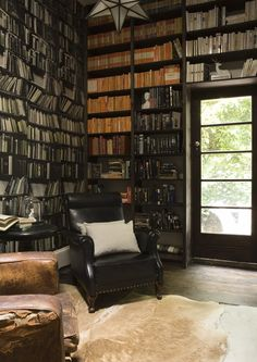 Love the wallpaper in the library room