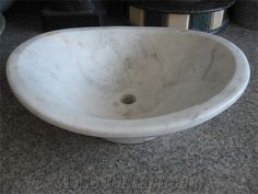Bianco Carrara Marble Oval Sinks/ White Marble Wash Basins/ Vessel Sinks