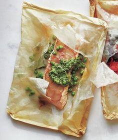 Potato, Pea, and Pesto Fish Packets | RealSimple.com