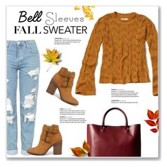 """""""Street Style Trend: Bell Sleeves"""" by kellylynne68 ❤ liked on Polyvore featuring Hollister Co., Topshop, Steve Madden, Meli Melo, StreetStyle, Fall, Sweater, fallfashion and bellsleeves"""