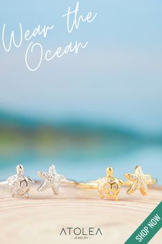 Wear the Ocean! Check out this TURTLE RING. Discover more minimalist and ocean-inspired jewelries from Atolea Jewelry. We offer free shipping anywhere you are! Wear the ocean with style at atoleajewelry.com