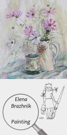 "Elena Brazhnik   Painting   Printable   Design   Interior   Instant Download   ""Cosmos"" (fragment)   Oil on Canvas Still Life Flowers Garden Pink White Summer Decanter Digital Image for Print   №LP-006"