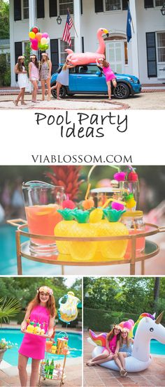How to throw a fun pool party and where to buy all the tropical decorations at the Via Blossom Blog!