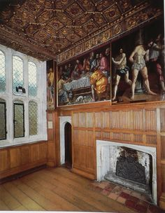This picture is taken from Wolsey's private apartment at Hampton Court Palace, I love the ceiling in this room! Note the linen fold panelling and Tudor arches! Tudor Era, Tudor Style, Tudor History, British History, Hampton Court, Hampton Palace, Tudor Dynasty, English Interior, Tudor House