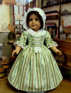 """$124.49 on 4/15/15. Colonial Day Dress, Fichu and Long Eared Cap~ Clothes Made to Fit 18"""" American Girl Doll Felicity. A KeepersDollyDuds Original."""