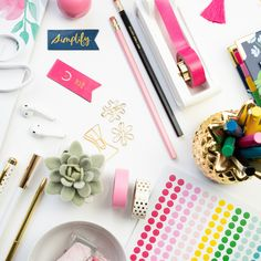 flat lay with colorful office supplies, photographed by jamie bannon photography. Creative Portrait Photography, Flat Lay Photography, Headshot Photography, Creative Portraits, Photography Branding, Lifestyle Photography, Flat Lay Photos, Create Picture, Corporate Headshots