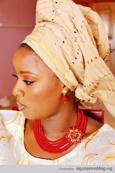 Nigerian brides wearing bead jewelry