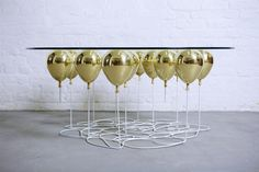 UP Balloon Coffee Table with Gold Balloons