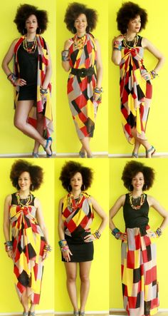 12 Creative Ways To Wear a Scarf/ Fabric | NO SEW All you need is 2m of fabric and you can create 12 different looks. Perfect for your next vacation without carrying too much around.  See all the details here https://www.youtube.com/watch?v=xz7h56gI_iM