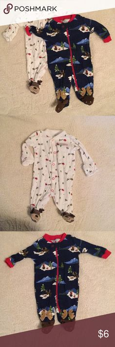 Two Newborn Onesies Cute NB onesies. Adorable moose -woodland Gymboree onesie marked 5-9 pounds. Santa w/ deer Carter's NB. Gymboree One Pieces Bodysuits