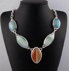 "Beautiful Natural Sardonyx Gemstone 925 Sterling Silver 18"" Handmade Necklace #RAAGARW"