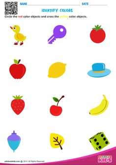 Preschool identify colors that help kids to identify the particular color objects. Kids will be able to cross the color objects which is specified on each worksheet. Color Activities Kindergarten, Color Worksheets For Preschool, Nursery Worksheets, English Worksheets For Kindergarten, Shapes Worksheets, Preschool Printables, Preschool Body Theme, Free Preschool, Numbers For Kids
