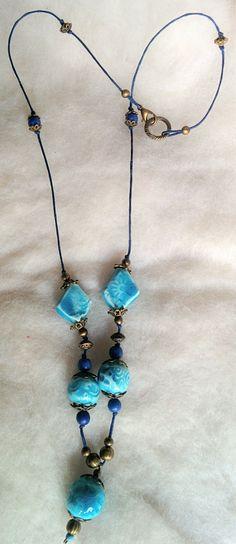 Akvamarin csipke - kerámia nyaklánc (gaboca) - Meska.hu Handmade Necklaces, Turquoise Necklace, Jewelry, Jewlery, Jewerly, Schmuck, Jewels, Jewelery, Fine Jewelry