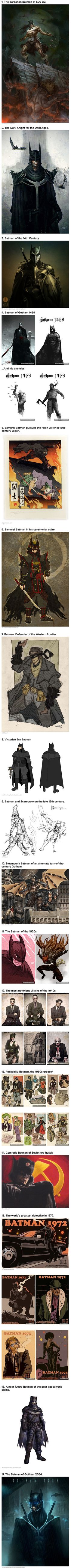 We have rounded up 17 visions of Batman throughout the ages.