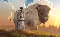 WhiteBuffaloCalfWoman by Daniel Eskridge. A lakota woman in white stands next to a massive white buffalo. One hand holds a staff the other on the great bison. Standing upon a grassy hilltop at sunset looking back at you the viewer. Two scouts seeking help during a famine, traveling met Wbcw. One tried to take advantage of her, was reduced to a pile of ashes. The other a pure heart. She said prepare. She taught seven sacred ceremonies and gave a sacred pipe. She left promising to return one…