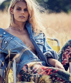 Model Jean Campbell enjoys the 'Country Life', styled in pretty fancy  prairie-girl looks by Kate Phelan. Photographer Alasdair McLellan captures  the bucolic beauty for Vogue UK March 2016./ Hair by Duffy; makeup by  Lynsey Alexander