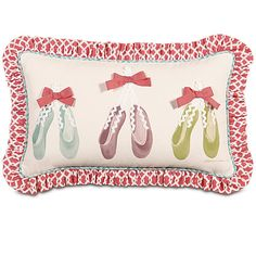 Eastern Accents Matilda Polyester Ballet Shoes Hand-Painted Decorative Pillow | Wayfair