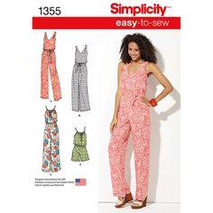 Simplicity Pattern 1355A Xxs-Xs-S-M-Misses Dresses