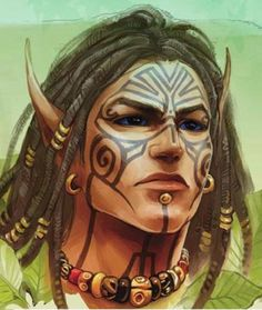 Wild elf with tribal tattoo Mais