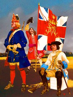 Prussian Grenadier with British ensign and Hanoverian Regiment of Dragoons