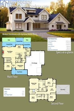 Architectural Designs Modern Farmhouse Plan 95041RW gives you over 3,200 square feet of heated living space PLUS bonus expansion over the garage.Ready when you are. Where do YOU want to build?