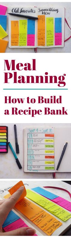Meal Planning is an excellent way to save money, eat healthier, and have stress-free meals every night. My way of dealing with getting stuck in a rut with the same handful of meals is to create a recipe bank in my bullet journal. See how this one easy tri The Plan, How To Plan, Planning Menu, Planning Budget, Monthly Meal Planning, Summer Meal Planning, To Do Planner, Meal Planner, Create A Recipe