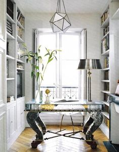 dens/libraries/offices - mirrored, desk, star, chandelier, pewter, lamp, built-ins, white, parquet, wood, floors, office,  Cool Pottery Barn