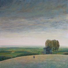 "Philippe Charles Jacquet, La cabane, 2013, Oil On Board, 39"" x 39"" #art #landscape #axelle"