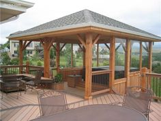 Inspiration for our pavillion on our upper deck...I love the covered area for those Oregon rainy days as well as to block the hot sun!