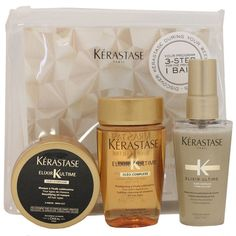 Kérastase Elixir Ultime Travel Kit - perhaps better than coping with whatever is available on arrival - that plan hasn't always worked out well...rinse and spray with oil for after swims?