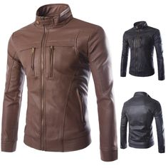 Cheap men fashion leather jacket, Buy Quality mens leather fashion jackets directly from China men leather jacket Suppliers: 2017 Spring Autumn Leather Jacket Men Fashion Stand Collar PU Leather Jacket Motorcycle jaqueta de couro mens leather jacket Men's Leather Jacket, Faux Leather Jackets, Leather Men, Jacket Men, Leather Coats, Biker Leather, Business Casual Coat, Cool Coats, Slim Fit