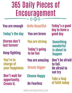 365 Daily Quotes of Encouragement - We're Parents - - Everyone needs a little pick me up sometimes. Start your day off right with this 365 Daily Quotes of Encouragement Free Printable! Encouraging Quotes For Kids, Inspirational Quotes For Kids, Motivational Quotes, 365 Quotes, Daily Quotes, Life Quotes, Printable Quotes, Free Printable, Happy Jar