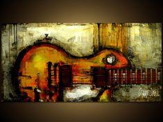 Original Painting Modern Abstract Art by SLAZO 24x48 by SlazoArt,