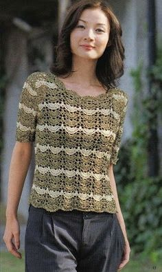 Crochet Blouse Patterns Delicate crochet top using a fan stitch. - Delicate crochet top using a fan stitch. T-shirt Au Crochet, Crochet Bolero, Cardigan Au Crochet, Beau Crochet, Pull Crochet, Mode Crochet, Crochet T Shirts, Black Crochet Dress, Crochet Woman