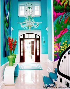 Love the foyer in this Captiva Island home, interior design by Diamond Baratta (via House of Turquoise) Home Interior, Interior And Exterior, Interior Decorating, Mansion Interior, Gray Interior, Farmhouse Interior, Exterior Doors, Bathroom Interior, Modern Bathroom