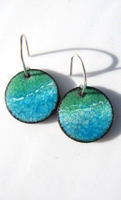 Copper Jewelry Enamel Earrings Enamel Jewelry by Gasquetgirl