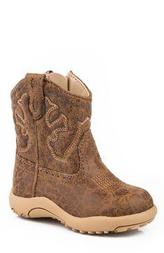 Roper Cowbabies Newborn Tan Faux Leather Stitch Boots Boys Cowboy