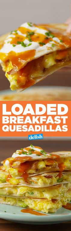Breakfast Quesadillas Breakfast sandwiches are great, but have you tried Loaded Breakfast Quesadillas? Get the recipe on .Breakfast sandwiches are great, but have you tried Loaded Breakfast Quesadillas? Get the recipe on . Breakfast Quesadilla, Breakfast Sandwich Recipes, Quesadilla Recipes, Breakfast Dishes, Breakfast Time, Brunch Recipes, Breakfast Burritos, Breakfast Ideas, Breakfast Healthy