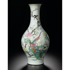 A large famille-rose olive-shape vase with birds and flowers, Seal mark and period of Qianlong - Alain. Japanese Porcelain, Fine Porcelain, Chinese Words, Chinese Art, Chinese Figurines, Keramik Vase, Chinese Ceramics, Chinese Antiques, Vintage China