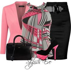 Adorable black and pink themed church outfit. Quirky patterned top
