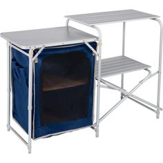 Aluminium Camping Kitchen and Table Set £49.99 £Ideal for storage, preparing your food or using as a space to wash up after dinner the folding table and kitchen is ideal for your camping holidays. Complete with a hanging larder which is ideal for keeping your food, the unit folds away into the carry bag supplied and makes a great compact accessory for your camping trip.