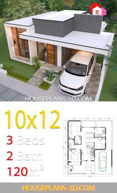 House design with 3 Bedrooms Terrace Roof - House Plans Flat House Design, Simple House Design, Minimalist House Design, Modern House Design, Simple Designs, 3d House Plans, Model House Plan, House Layout Plans, Small House Plans
