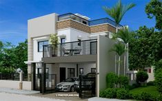 Architecture at its finest. Clean edges combined with exquisite details and presentation give this four bedroom two story house design with roof deck an elegant appeal. Two Storey House Plans, 3 Storey House, Storey Homes, 2 Story House Design, Small House Design, Cool House Designs, Plans Architecture, Amazing Architecture, Rooftop Design