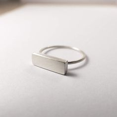 Silver Ring Silver Bar Ring Modern Minimalist Ring