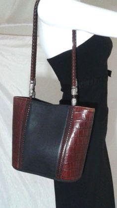 Vintage Brighton Bucket Bag Shoulder Bag Tote Croc Accents In Black & Brown
