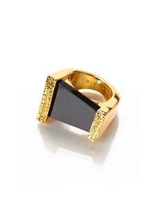 TRINA TURK Gold-Tone & Black U-Turn Ring