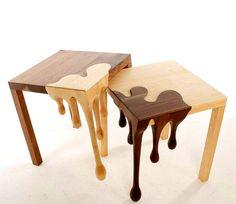 drewiane kleksowe stoliki